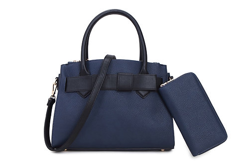 69911.  Bow detailed handbag with matching purse.
