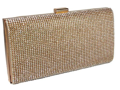 20651.  Gold Glitter Diamante Evening Hard Case Glitz Clutch Bag