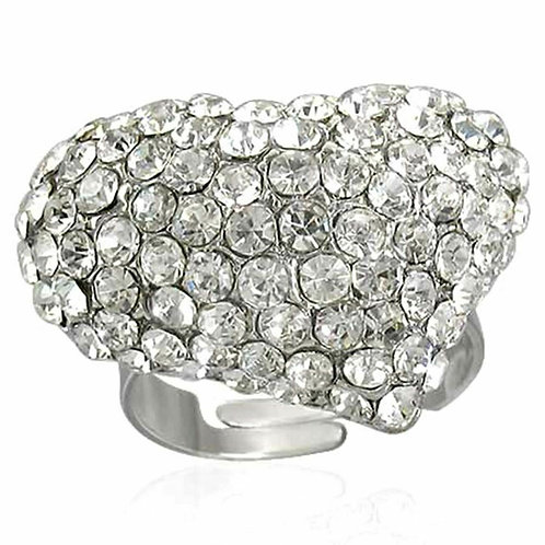 Heart Shaped Diamante Crystal Statement Ring