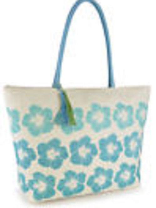 BB0890 Floral ziped beach bag.