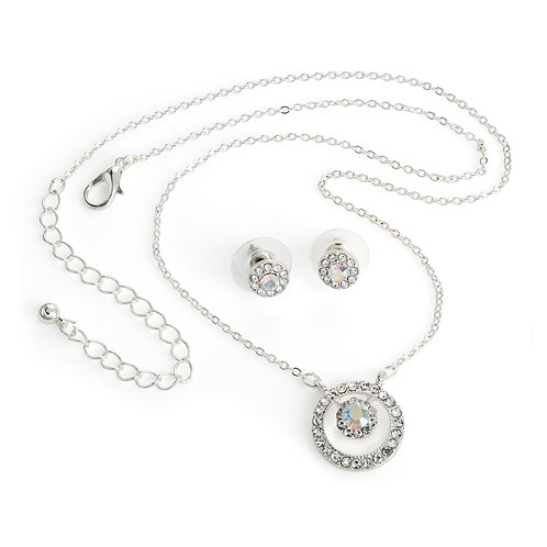 N30903 - Silver crystal necklace and earring set