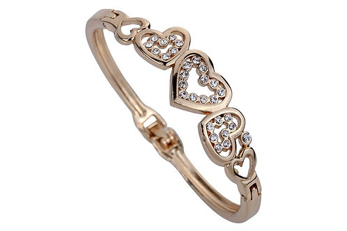 AMY.  Gold Five Hollow Heart Carve Crystal Charming Bangle
