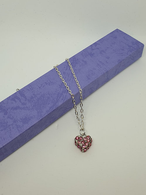 Silver Love Heart Necklace Crystal Diamante Pendant Chain