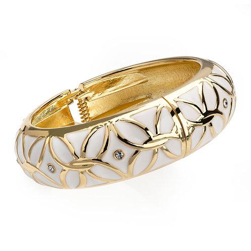 BA29992.  Gold & White Enameled Bangle.