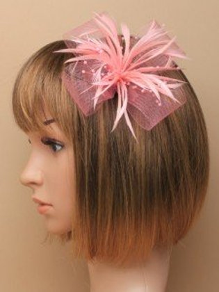 5311.  Pink looped net and feather fascinator.