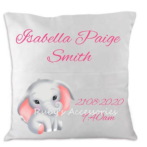 Personalised Cute Elephant Birth Cushions