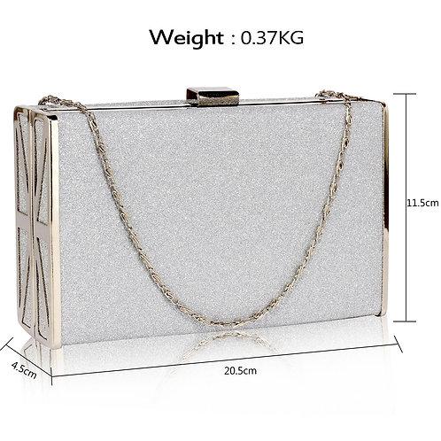 LSE00344.  Silver Glitter Clutch Bag.