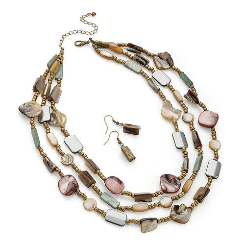 N29979.  Brown tone, shell necklace and earrings