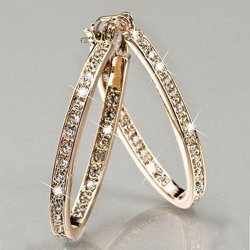 EHOP.  Crystal Gem U shaped Hoop Earrings
