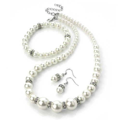 N24255 - Three peice pearl necklace, earring and bracelet st
