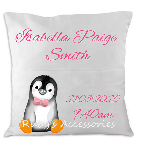 Personalised Cute Penguin Birth Cushion