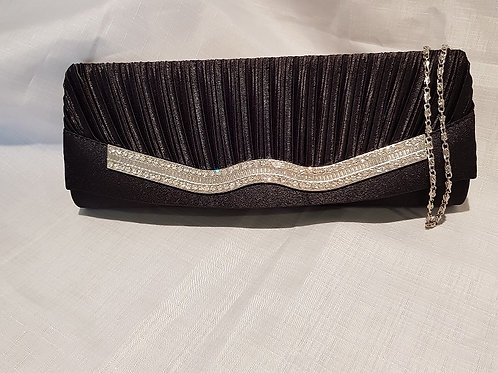 7081.  Pleated satin and diamontie detail clutch bag.