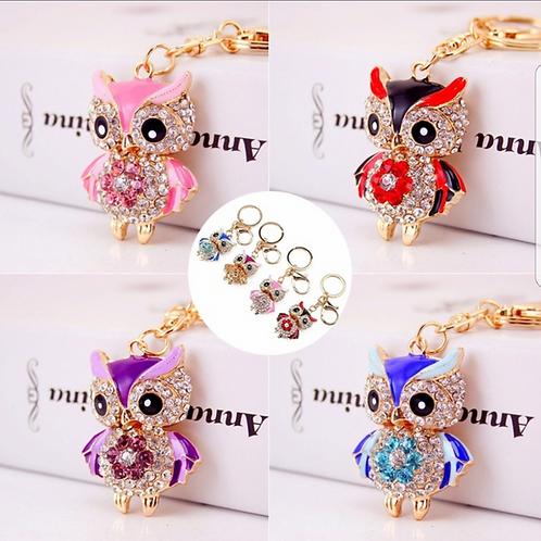 H3L54.  Owl Crystal Key/Bag charms