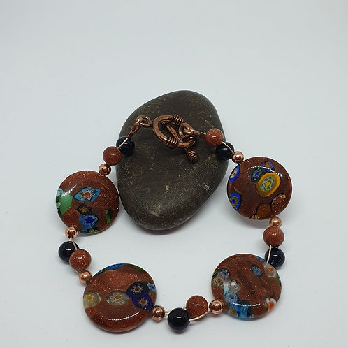 Goldstone & Black Onyx Lentil Handmade Bracelet