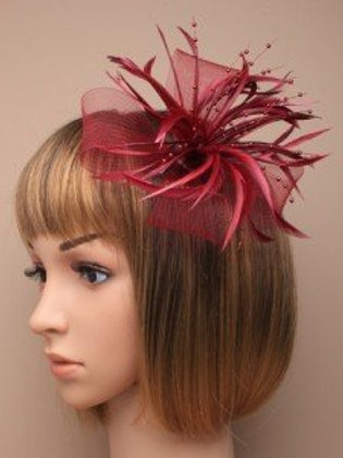 5460.  Burgundy large looped net and feather fascinator
