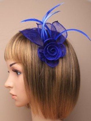 5163.  Royal Blue mesh net flower fascinator