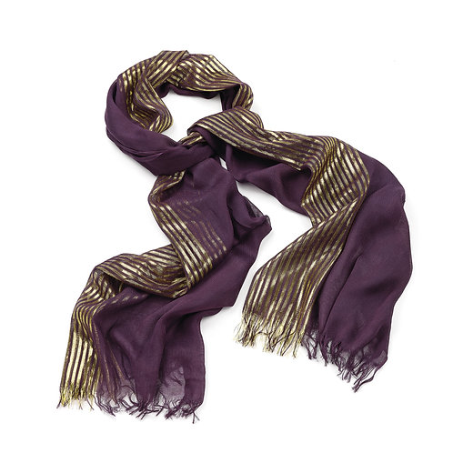 Purple and gold scarf.