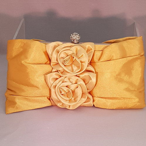 20507.  Gold satin bow and double center rose detail clutch bag.