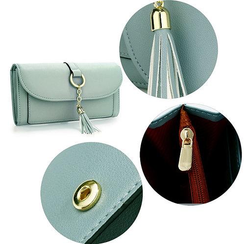 Blue Flap Purse/Wallet With Tassel
