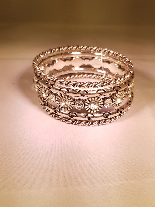 RASA.  Vintage style silver plated 5 piece Bangle set.