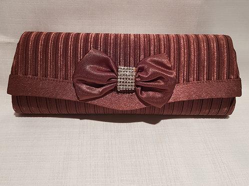 007.  Coffee striped satin diamontie bow detail clutch bag.