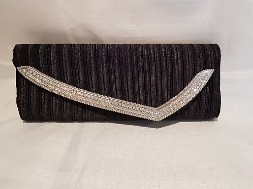 207.  Black pleated satin diamontie detail clutch bag.