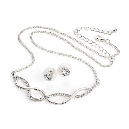 N30923.  Silver colour crystal platted look chain necklace and stud earring set.