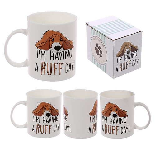 "MUG195.  Jack Evans Bone China ""I'm having a ruff day"" Mug"