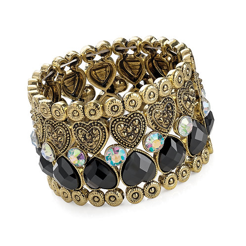 BL30530.  Antique & Gold style Eleasticated bracelet.