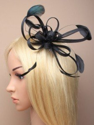 8565.  Large Black coiled net and feather fascinator