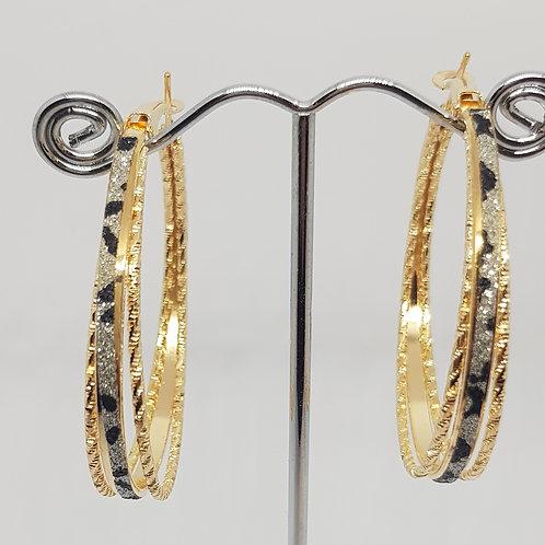 E3R, E3S, E3T.  Animal print Diamontie & twist detailed Hopped Earrings