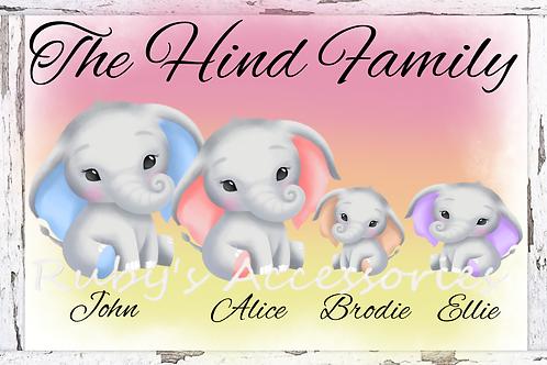 Personalised Elephant Family Gift Print