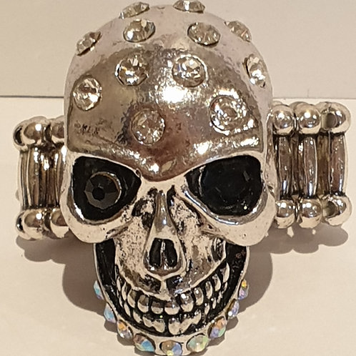 Diamante embellished skull ring