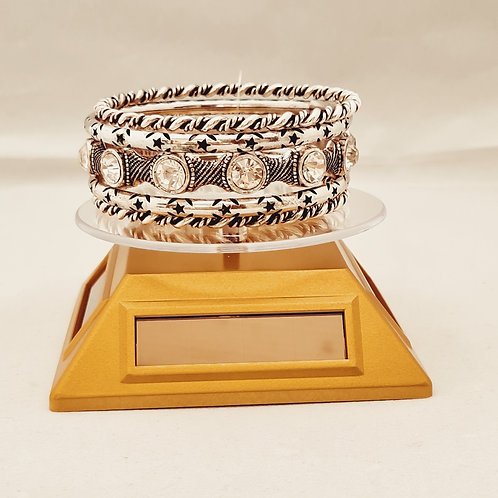 Vintage style silver plated 5 piece Bangle set.