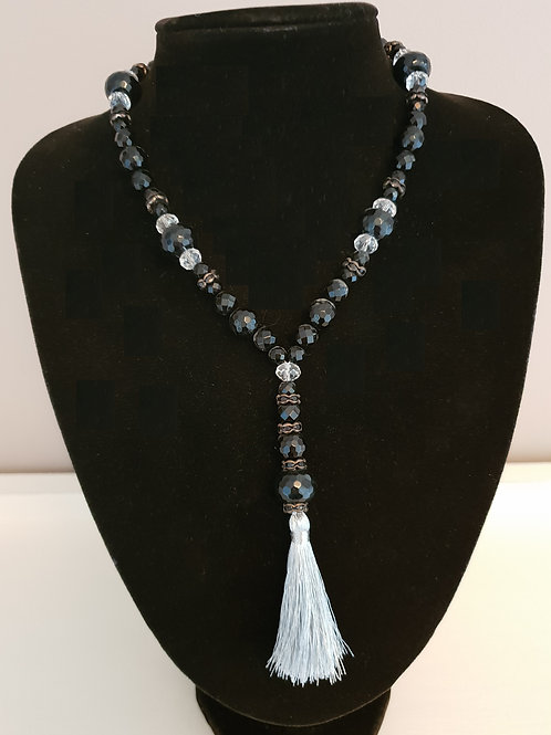 Black onyx & Crystal necklace with a silver coloured tassel