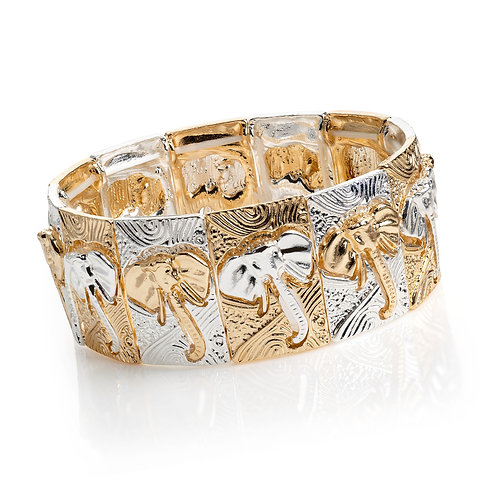 Gold and silver elephant bracelet
