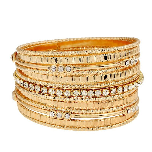 MLB.  Gold and Crystal Multi Layer bangle