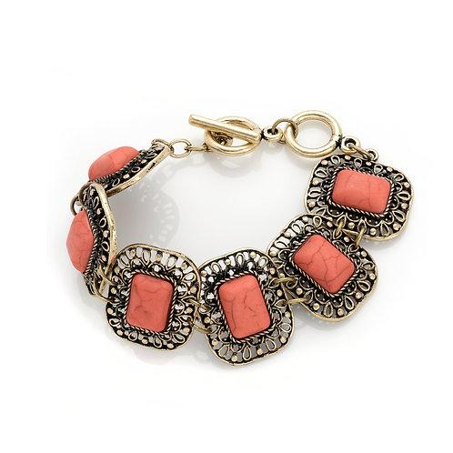 BL30123.  Pink marble effect bracelet.