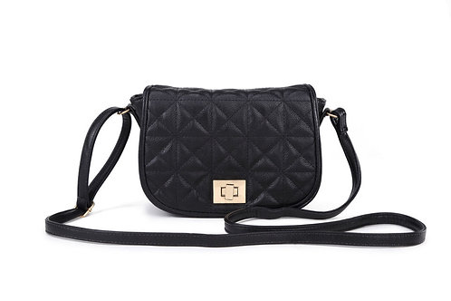 G538.  Black Shoulder/cross body bag.  Crossover detail on front.