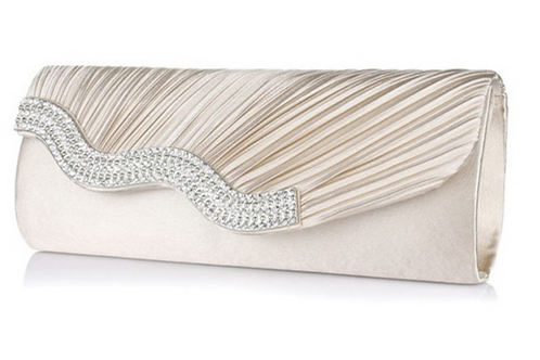 1077.  Pleated satin and diamontie detail clutch bag.