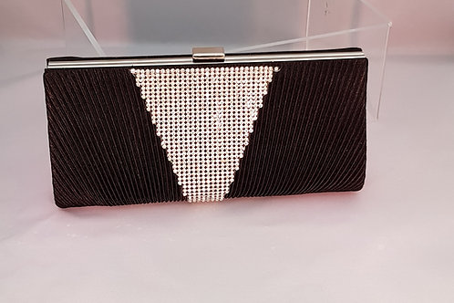 212.  Pleated satin and diamontie detail clutch bag.