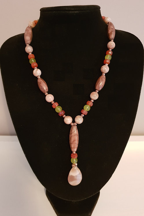 Beautiful Sunstone, Coco Jasper, Carnelian & Prehnite necklace