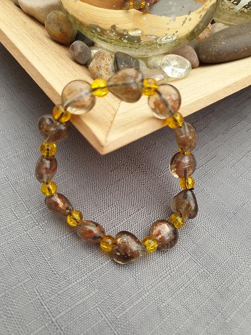 Brown & Amber Glass beaded Elasticated Bracelet - Handmade