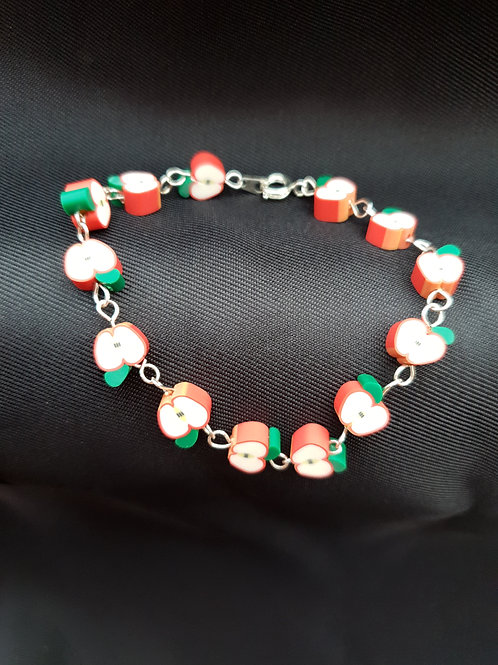 Cute Handmade Red Apple Charm Bracelet