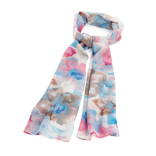 SC31287.  Pink and Blue flower scarf.