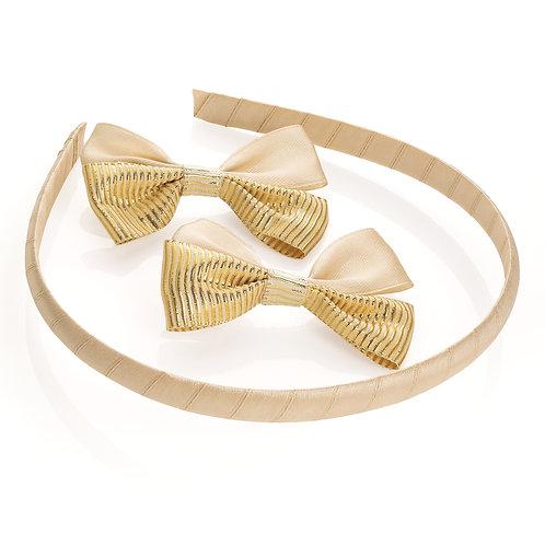 HA30572.  Three piece gold colour hair bow clip and headband set