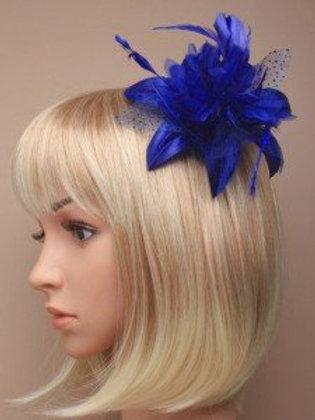 5321.  Royal blue feather flower fascinator