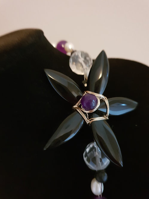 Onyx, pearl, Amethyst & Quartz necklace & earrings
