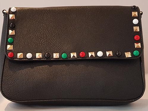 F9007.  Stud & bead detailed cross body bag.