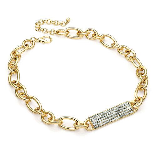 N29463.  Gold Barrel bar necklace.